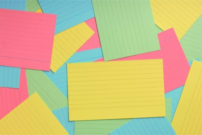 Use colored flashcards to study