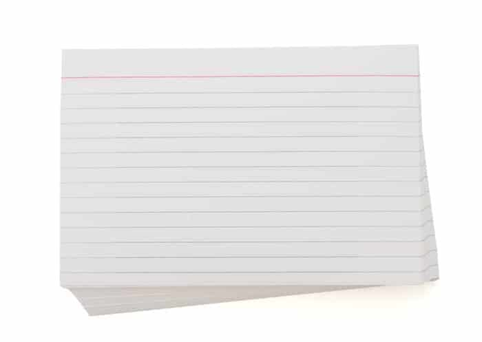 Use regular index cards to make flashcards