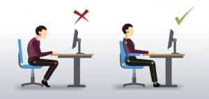 correct sitting posture and ergonomics