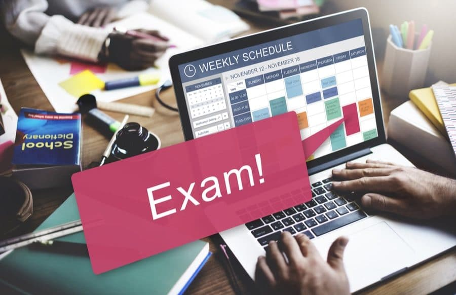 MBLEx exam study schedule on computer