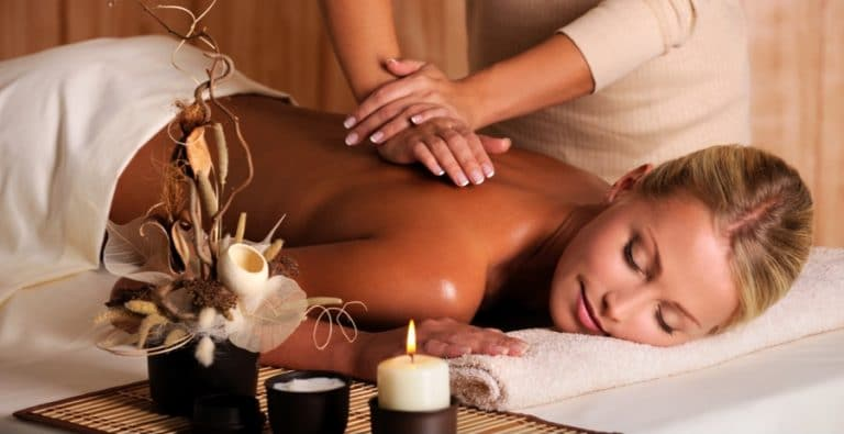 massage therapy client on table