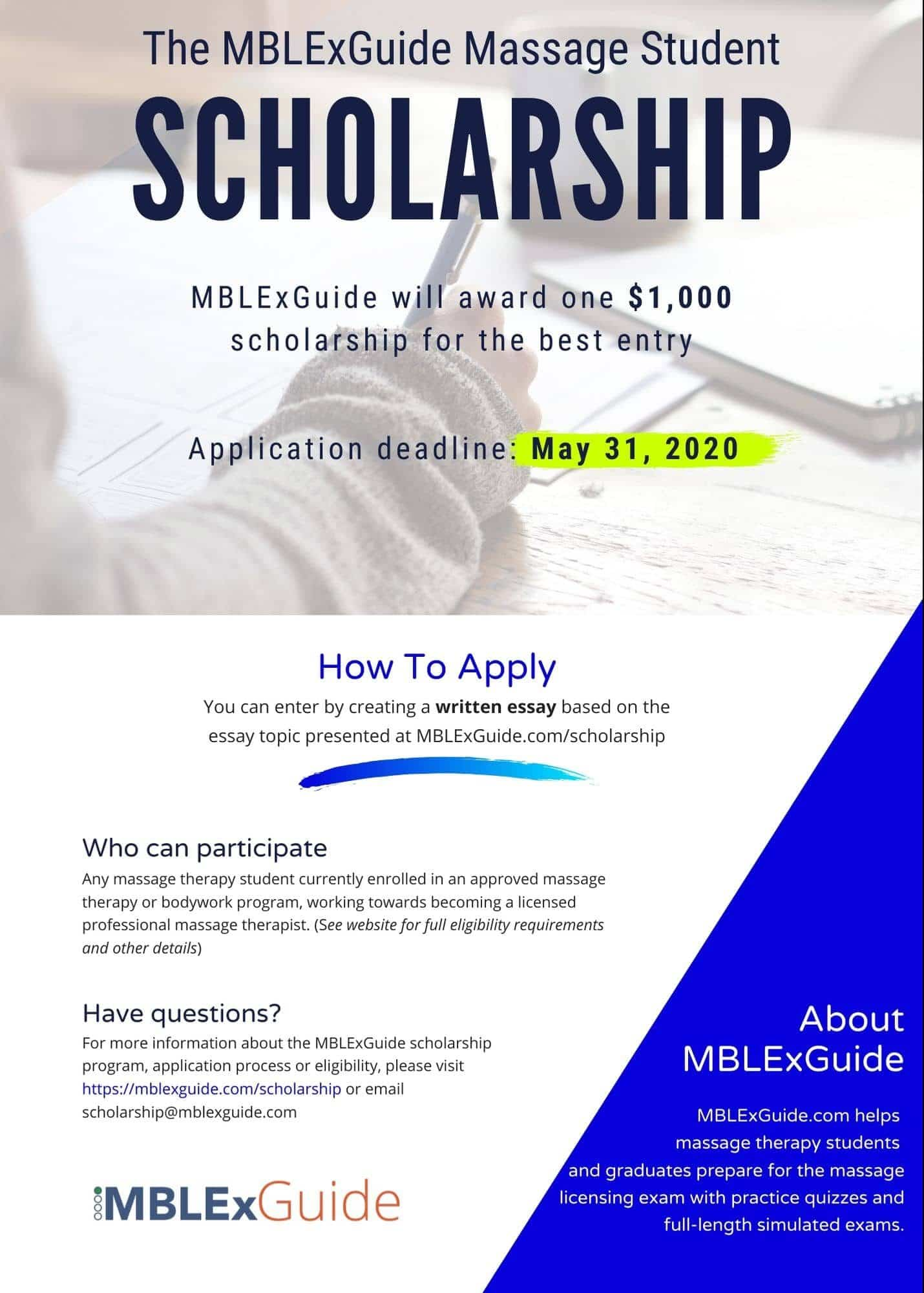 Massage therapy scholarship MBLEx Guide 2020