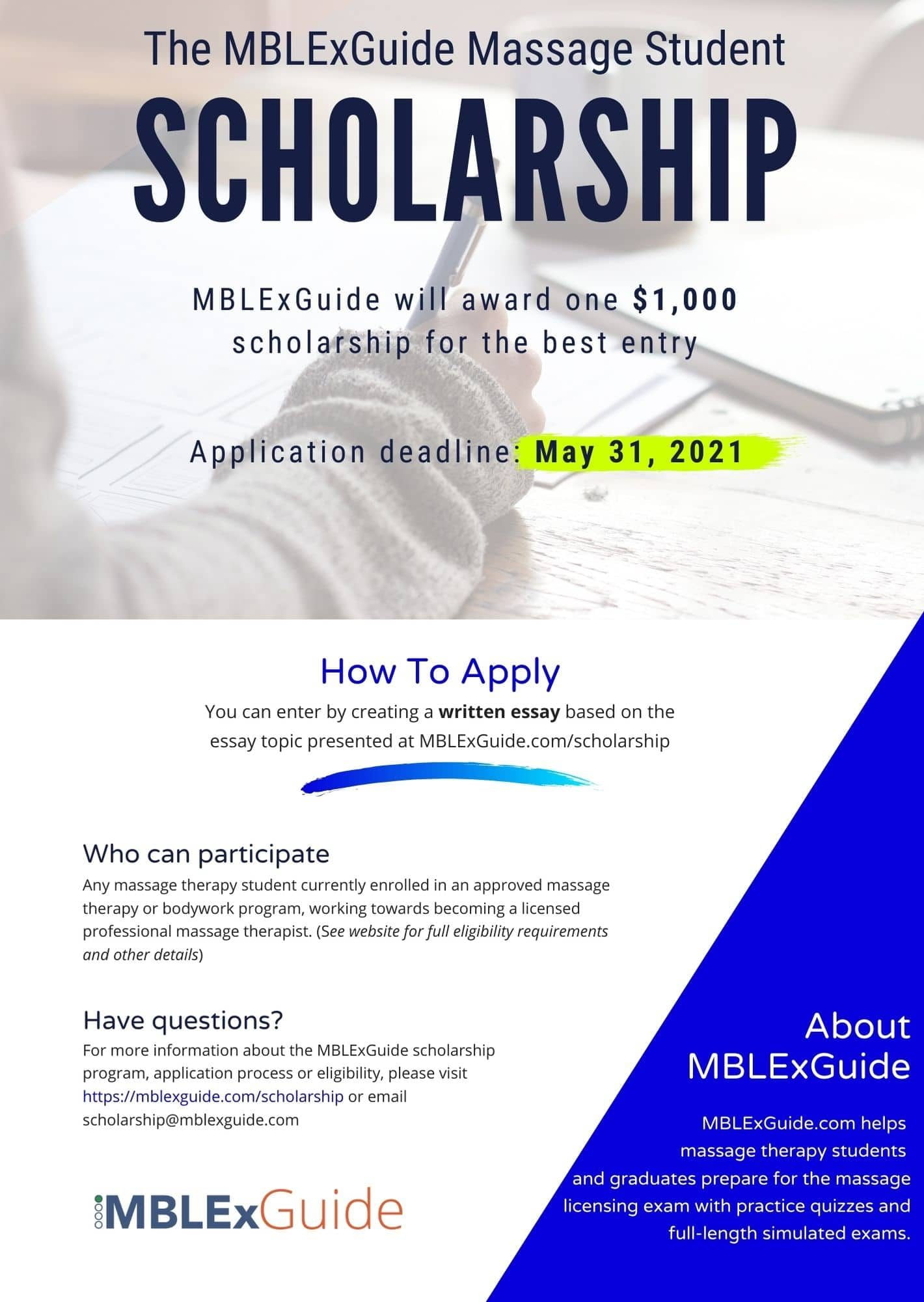 Massage scholarship flyer 2021 MBLEx Guide
